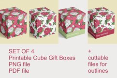 Printable Red Roses Cube Boxes for Small Favors Set of 4 Product Image 2