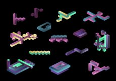Playful Geometry. 42 vector isometric shapes Product Image 4