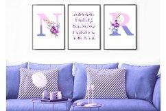 Watercolor monogram,Floral Alphabet, spring flowers Product Image 2