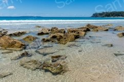 Tropical paradise beach with rocks in the water Product Image 1
