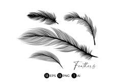 Black Feathers Stencil Boho Line Art Design Elements Product Image 3