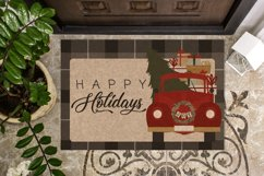 Vintage Red Christmas Truck Clipart - Vector Clip Art & SVG Product Image 4