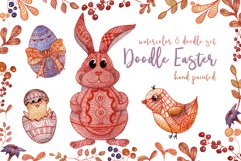Doodle Easter Watercolor Set Clipart Hand Painted Illustrations Objects Product Image 1