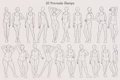 20 Realistic Female Body Poses Stamps for Procreate Product Image 3