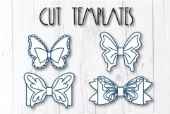 4 Hair bow template SVG, Butterfly faux leather bow template Product Image 6