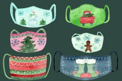 Christmas face mask clipart, Watercolor clip ar Product Image 3
