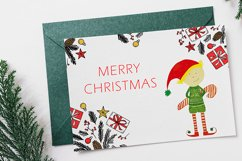 Watercolor Christmas elf with a candy Product Image 4