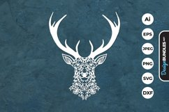 Floral Deer Head Papercut Product Image 1