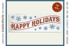 Happy Holidays - long vintage rustic Christmas sign SVG file Product Image 1