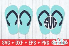 Flip Flop Monogram Frame   Summer SVG Product Image 1