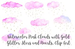 Watercolor Pink Clouds with Gold Stars and Hearts Clip Art Product Image 1