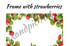 Watercolor strawberry, watercolor clipart with berries and l Product Image 3