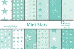 Pastel mint stars seamless digital paper Product Image 1