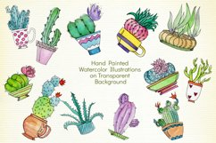 Watercolor Cute Potted Cacti Set Product Image 3