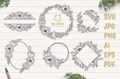Flower Wreaths SVG Bundle , Flower monogram cut file Product Image 1