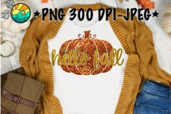 Hello Fall - Pumpkin - Glitter - PNG for Sublimation & JPEG Product Image 1
