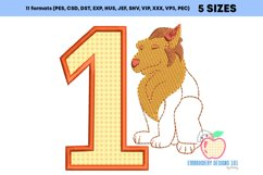 1st Birthday Siting Lion look at Front Side Applique Product Image 3