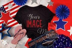 Women's Black USA America T-Shirt Mock Up Shirt, JPG Product Image 1