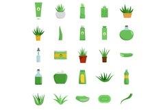 Aloe vera plant logo icons set, flat style Product Image 1