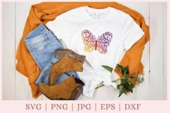 Floral Butterfly SVG, Butterfly and Flowers SVG, wildflower Product Image 4