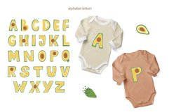 Avocado Alphabet Set, Avocado Letter Clipart, SVG, PNG, Product Image 3