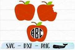 Apple Monogram - Teacher Silhouette and Cricut Cut File Product Image 1