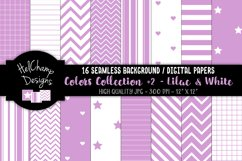 16 seamless Digital Papers - Lilac and White- HC159 Product Image 1