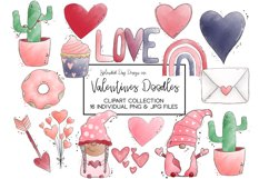 Valentines doodles Clipart collection Product Image 1