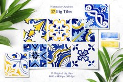 Portuguese Azulejos. Watercolor Patterns and Tiles. Product Image 2