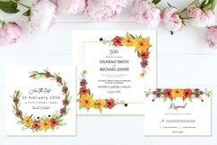 Lovely Yellow Brown Rustic Floral Wedding Invitation Suite Product Image 2