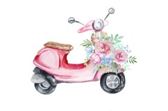 Watercolor Retro Red Moped Clipart Set Product Image 5