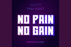 No Pain No Gain text, editable text effect Product Image 1