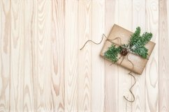 Christmas decoration wrapped gift pine tree branches Product Image 1