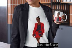 Fashion clipart, African american Boss girl clipart PNG Product Image 5