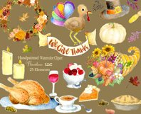 Watercolor Thanksgiving Clipart - Horn of Plenty, PNG Product Image 3