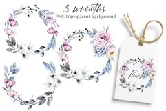 Watercolor pink and blue flowers arrangements, frames, ets. Product Image 2