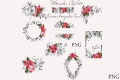 CHRISTMAS FLORAL Pointeness watercolor clipart Product Image 2