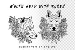 Wolf in roses set 100 hand-drawn Product Image 2