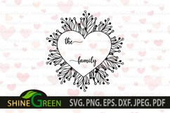 Valentines SVG - Flower Heart Family Monogram Frame Product Image 3