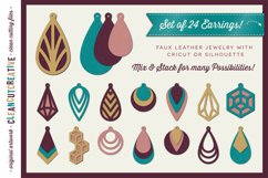 Set of 24 Faux Leather Earrings - SVG DXF EPS PNG craft file Product Image 1