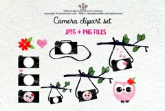 Cute camera clipart set 6 with owl, love heart Product Image 1