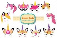 unicorn bundle, Unicorn svg, unicorn face cut files, licorne Product Image 1