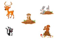 Set of Cute Cartoon Woodland Animals Product Image 3