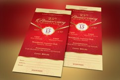 Red Gold Anniversary Gala Ticket Template Product Image 4