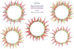 watercolor round frame, 5 wreath with red flowers Product Image 2