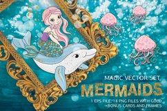 MERMAIDS Sea Tropical Color Vector Illustration Set Product Image 1