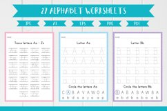 27 Alphabet English Worksheets, Trace the Letters A4 size Product Image 1