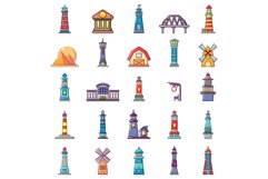 Buildings icon set, cartoon style Product Image 1