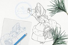 Vintage Christmas girl with mistletoe on basket coloring Product Image 1