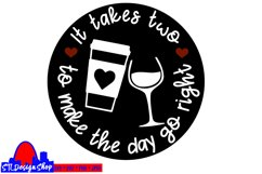 coffee and wine svg cut file, funny wine lover diy project Product Image 2